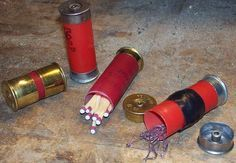 This small kit is made from readily available spent shotgun shells that can serve as small containers. They're light, durable, cheap (if not free), and disposable if necessary. The total time spent in construction of these kits is typically less than a couple minutes, and they last years. The materials you'll need to start with are at least two *spent* shotgun shells. I prefer 12 gauge as they're the largest and most common, but any size will work.