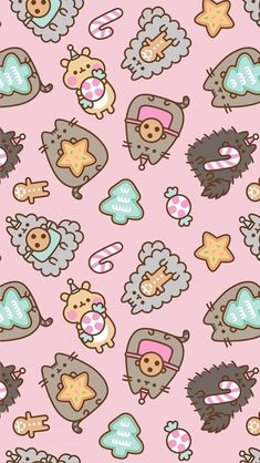 pusheen the cat christmas holiday wallpaper iphone background unicorn snow cookies Wallpaper Gatos, Cat Phone Wallpaper, Gato Pusheen, Pusheen Love, Wallpapers Kawaii, Kawaii Wallpaper, Wallpaper Wallpapers, Unique Wallpaper, Wallpaper Ideas