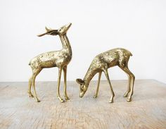vintage brass deer figurines by RustBeltThreads on Etsy, $38.00
