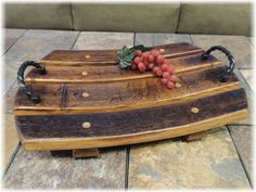 This handcrafted wood platter is made from the staves of a recycled wine barrel. It can be used to display fruit, cheeses, or just be a centre piece on a coffee table. Wine Barrel Crafts, Wine Barrel Rings, Wine Barrels, Wine Cellar, Barris, Barrel Projects, Wine Barrel Furniture, Do It Yourself Furniture, Wine Craft