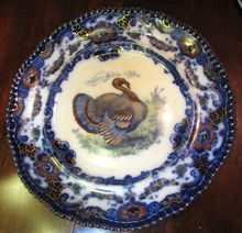 Stunning Antique English Flow Blue Polychrome Turkey Plate, Lincoln No 2