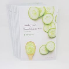Innisfree It's Real Squeeze Facial Masks Cucumber 20ml 3/8/16/35 Sheets Lot #Innisfree