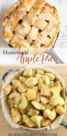 Homemade apple pie is easy to make with only a few simple ingredients! Apple pie is made with two different types of apples, sugar, lemon juice, cinnamon and nutmeg, along with tapioca to thicken the filling. Baked in a cast iron skillet. #castironrecipes #applepie #apples #pierecipes #piecrust #pie #dessert #fallrecipes