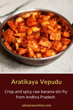 Aratikaya Vepudu is a super simple, crisp raw banana fry. Enjoy with plain rice, curd rice, sambar rice, or dal rice. The crunch and the spiciness just elevates the mood like little else. :)