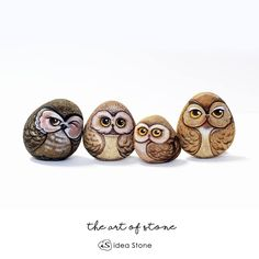 """110 Likes, 5 Comments - Is.ideastone (@is.ideastone) on Instagram: """"Owls family stone painting.  Interest this gang please contact  ID line: apppvr  Gmail:…"""""""
