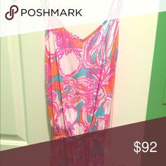 Lilly Pulitzer Deanna Romper Feeling Tanked XS Gorgeous NWT Lilly Pulitzer romper, bright colors and flattering style, sash belt that ties but is removable, comfortable fabric, print sold out, XS but can fit XXS-S, would do 80 on Merc Lilly Pulitzer Other