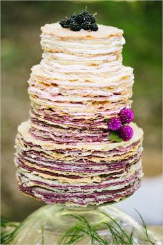 wedding cakes alternatives wedding cake alternatives crepe cake with cream ombre with mulberry and flowers spanglish studios Alternative Wedding Cakes, Wedding Cake Alternatives, Brunch Wedding, Wedding Desserts, Cake Wedding, Wedding Foods, Wedding Pins, Wedding Reception, Wedding Stuff
