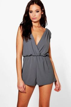 5ca067f952f Boohoo Hannah Pleated Drape Shoulder Playsuit Charcoal Grey Size 10 SA078  GG 27  fashion