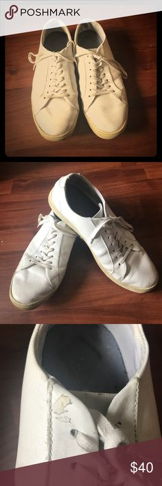 White Leather Sneakers White leather Nordstrom sneakers. Worn. Extremely versatile. Common Projects style sneakers. 100% leather uppers. Nordstrom Shoes Sneakers