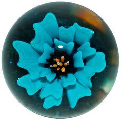 "Josuah Justice 1 3/8"" Aqua Blue Flower Boro Art Glass Marble #ArtGlassMarble"