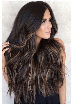 Brown Hair Balayage, Brown Blonde Hair, Dark Brunette Balayage Hair, Black Balayage, Brunette Highlights, Brunette Color, Dark Hair With Highlights, Brown Highlighted Hair, Long Brown Hair