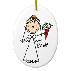 Stick Figure Bride T shirts and Gifts Christmas Tree Ornament