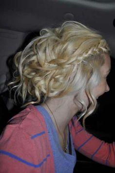 #messy updo # curly hair #blonde #braid