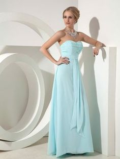 Baby Blue Bridesmaid Dress Column Sweetheart with Beading