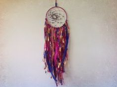Pink Purple Blue and Gold Dreamcatcher  by MyDreamcatcherLane