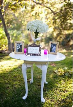 in memory of table...we suggest this for clients. Keeping loved ones close with memory tables, images and personal possessions reminds us of the bonds we have with them.
