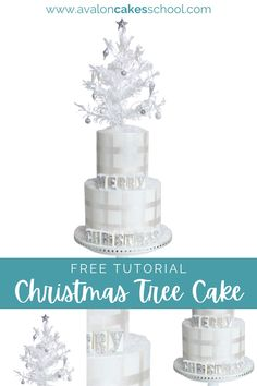 Check out our Christmas tree cake tutorial for Christmas cake decoration ideas for your storefront bakery menu or home bakery menu this holiday season. From edible snow made from wafer paper to hand-painted plaid and mini fondant ornaments, this cake is the ultimate Christmas cake. Make it an all white cake with shades of silver and add some edible letter blocks! Avalon Cakes School, for intermediate and professional cake and cookie decorators, has hundreds of cake tutorials.