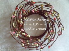"""One PINK - CREAM Pip Berry Candle Ring / Wreath 2.5"""" - 2 1/2"""" Inner Ring #Unbranded #countrycottage"""