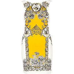 White Baroque Print Bodycon Dress.