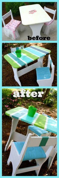 Beach Inspired Table Makeover ... gorgeous with summer stripes and coastal colors!    www.refreshrestyle.com  #paintedfurniture  #furnituremakeover