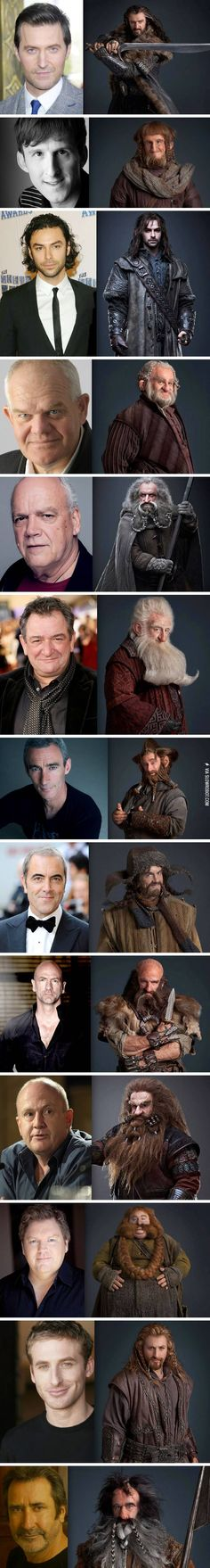 The Hobbit dwarves, pre and post make-up.                                                                                                                                                                                 Mais