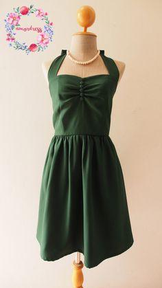 Vintage Party Dress Forest Green Bridesmaid Dress Green Summer Dress Sundress Green Halter Dress Vintage Modern Dress, custom