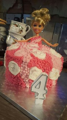 Pressure.. 4th birthday barbie pink pretty dress cake