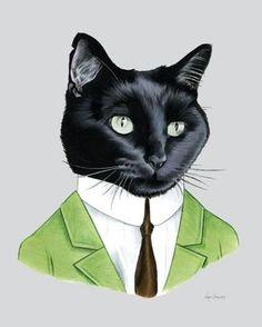Lámina de Mister Black Cat - arte infantil - retrato de mascotas - animales en la ropa - arte Animal - Ryan Berkley ilustración 8 x 10