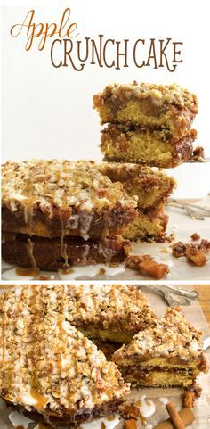 The Apple Crunch Cake has a layer of apple pie filling along with a crunchy streusel topping. This cake recipe is a great holiday dessert.