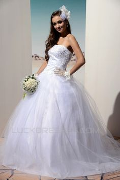 Ball Gown Strapless Court Train Beaded Lace Wedding Dresses 2031468