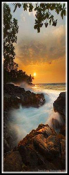 HAWAII ♦♦ Lyman`s  Bay Sunset. Big Island Hawaii #by Travis Craig-Photography Hawaii #amazing landscape seascape sun sunlight sunrise beach stone water ocean sky clouds nature