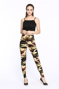 2016 winter leggings fitness Camouflage women print leggings Trouser Army Pants Stretch Leggings for female leggings printed