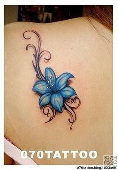 10. #Bright Blue - 30 Flower #Tattoos That Will Make You Want Some New Ink ... → #Fashion #Tattoo