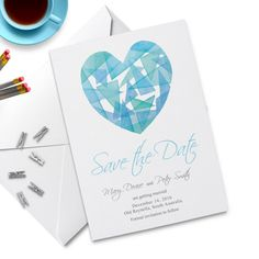 Watercolor Heart. Save the Date Card. Wedding by PaperBoundLove