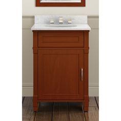 Alaterre Williamsburg Chestnut Wood 24-inch Bath Vanity Set with 25-inch Wide Sink Top