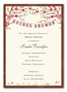 Love Birds Wedding Shower Invitation #bonniemarcus #weddingshower #tickledpinkinvitations