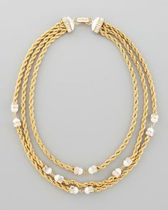 Three-Strand Twisted Chain Necklace, White by Rachel Zoe at Neiman Marcus.  595$