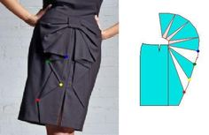 Russian site with ideas for how to alter a standard skirt pattern to create various designs.