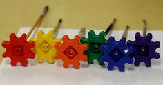 Preschool Art Projects - colorful gears ready for painting   Fun-A-Day