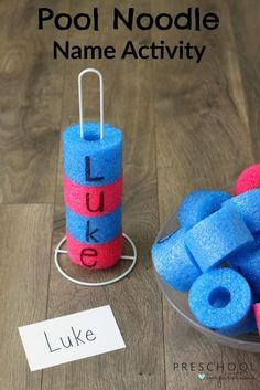 Help children learn to spell their names with this fun hands-on activity. This is great name practice for preschoolers and kindergartners! Pool Noodle Name Recognition