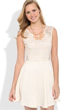Deb Shops #Lace Skater #Dress with Illusion Lace Back $30.00