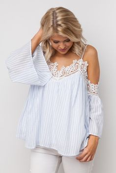 Graced With Lace Striped Top in Blue