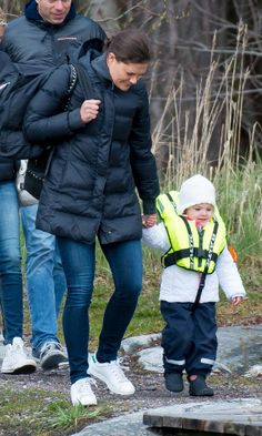 royalbabies:  Crown Princess Victoria and Princess Estelle prepare for a boat ride, late April-early May 2014