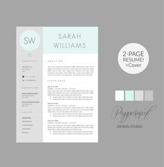 Resume Template with Cover Letter Template for WORD par Pappermint