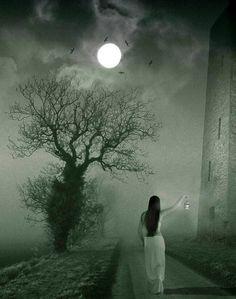 Woman walking in the fog.