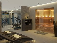 The most amazing home gym, spa, steam room and bathroom layout ever. Leave it to Houzz.