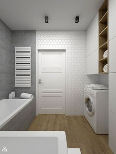 Ideas for bath room tiles grey white Narrow Bathroom, Bathroom Doors, Wood Bathroom, Downstairs Bathroom, Grey Bathrooms, White Bathroom, Bathroom Storage, Bathroom Ideas, Bad Inspiration