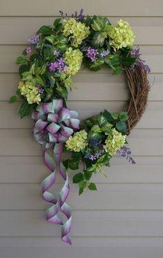 Hydrangea spring wreath...purple and green