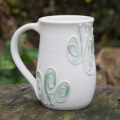 White Swirl Mug by Bunny Safari - often, the simplest designs can be the most refreshing.  My thanks to Rosslyn Burt's board for showing an amazing board of work.