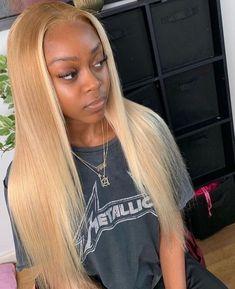 Blonde Hair Without Bleach, Honey Blonde Hair, Blonde Hair Black Girls, Frontal Hairstyles, Baddie Hairstyles, Real Hair Wigs, Human Hair Wigs, Blonde Dye, Blonde Weave